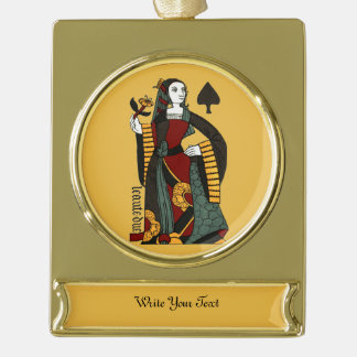 Queen of Spades Gold Plated Banner Ornament