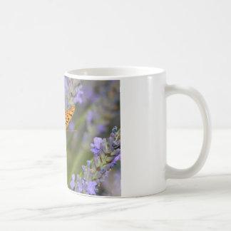 Queen of Spain Fritillari butterfly on lavender Mugs