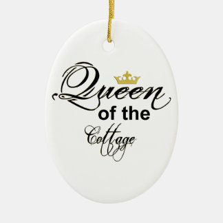 Queen of the Cottage Oval Shaped Ornament