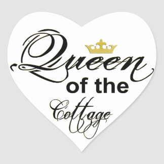 Queen of the Cottage Wordart Crown Heart Sticker
