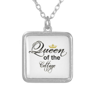 Queen of the Cottage Wordart Crown Silver Plated Necklace