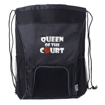 Halloween Themed Queen of the Court Cute Girls Basketball Player Drawstring Backpack