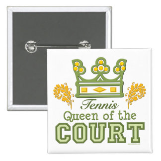 Queen Of The Court Tennis Button