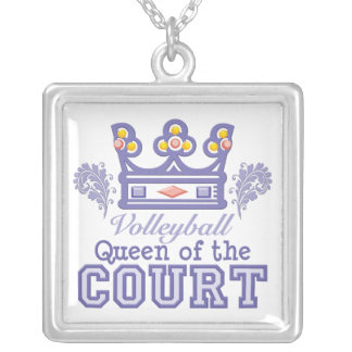 Queen of the Court Volleyball Sterling Silver Neck Pendant
