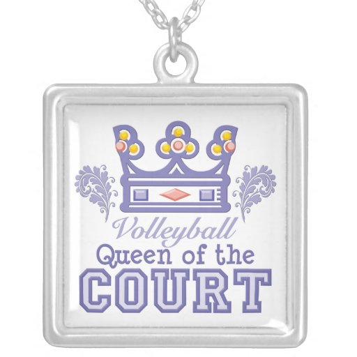 Queen of the Court Volleyball Sterling Silver Neck Square Pendant Necklace