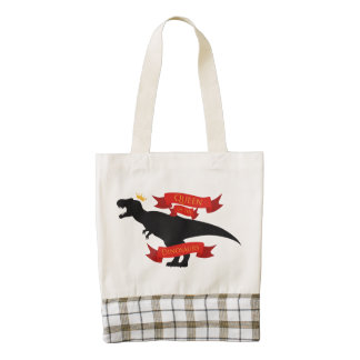 Queen of the Dinosaurs Zazzle HEART Tote Bag