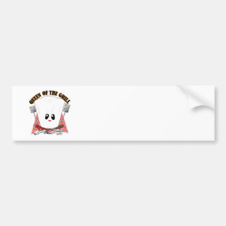 Queen of the Grill - Chef's Hat & BBQ Tools Car Bumper Sticker