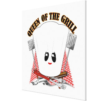 Queen of the Grill - Chef's Hat & BBQ Tools Gallery Wrapped Canvas
