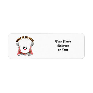 Queen of the Grill - Chef's Hat & BBQ Tools Custom Return Address Labels