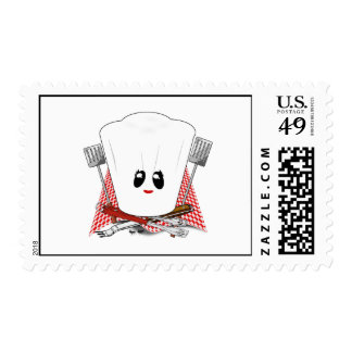 Queen of the Grill - Chef's Hat & BBQ Tools Postage Stamps