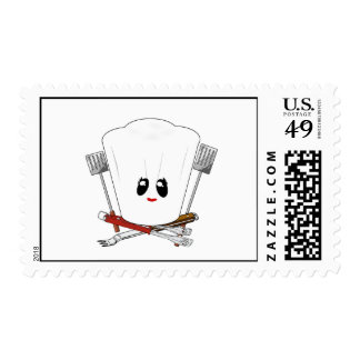Queen of the Grill - Chef's Hat & BBQ Tools Postage Stamp