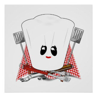 Queen of the Grill - Chef's Hat & BBQ Tools Posters
