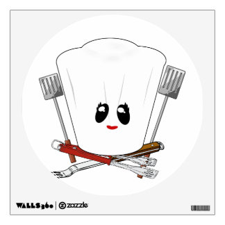 Queen of the Grill - Chef's Hat & BBQ Tools Wall Stickers