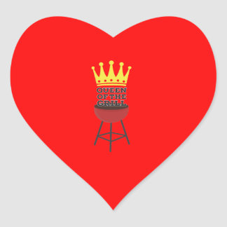 Queen of the grill heart sticker