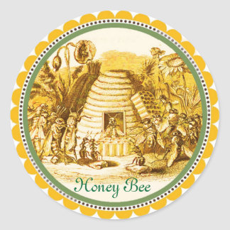 QUEEN OF THE HONEY BEES  IN SKEP / BEEKEEPER CLASSIC ROUND STICKER
