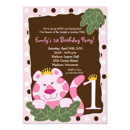 QUEEN OF THE JUNGLE 1st Birthday Invitation