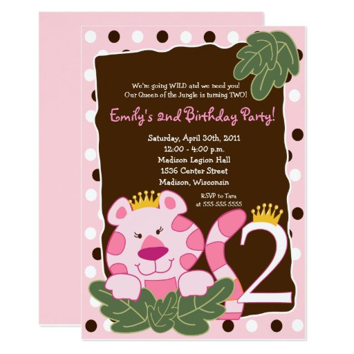 QUEEN OF THE JUNGLE 2nd Birthday Invitation