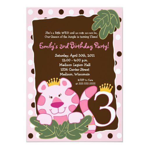 QUEEN OF THE JUNGLE 3rd Birthday Invitation