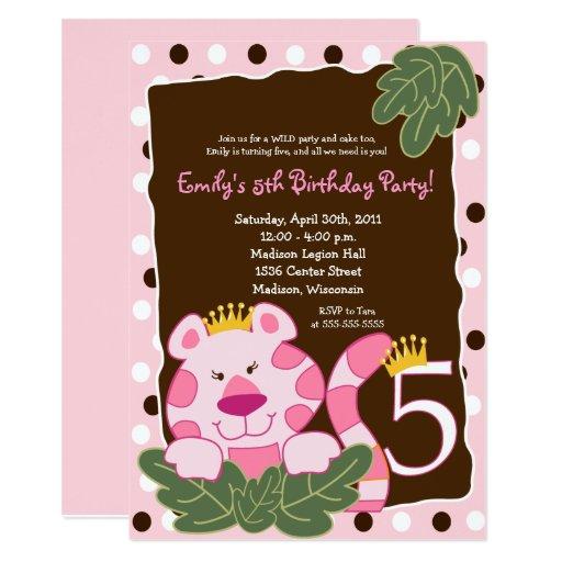 QUEEN OF THE JUNGLE 5th Birthday Invitation