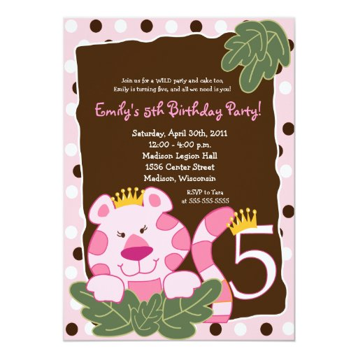 QUEEN OF THE JUNGLE 5th Birthday Invitation