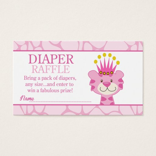 Queen of the Jungle Baby Shower Diaper Raffle Business Card