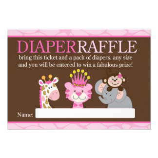 Queen of the Jungle Baby Shower Diaper Raffle Card