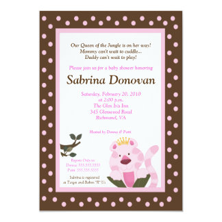 Queen of the Jungle Baby Shower Invite 5 x7