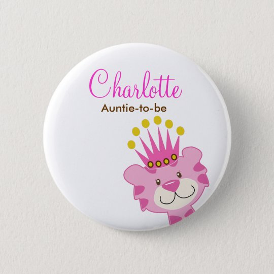 QUEEN OF THE JUNGLE BABY SHOWER NAME TAG BUTTON