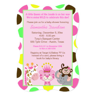 Queen of the Jungle & Friends Baby Shower Die Cut Card
