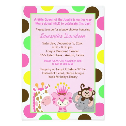 Queen of the Jungle & Friends Baby Shower Invite