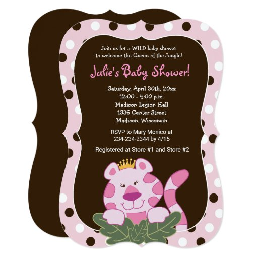 Queen of the Jungle Girl Baby Shower Invitaton Card