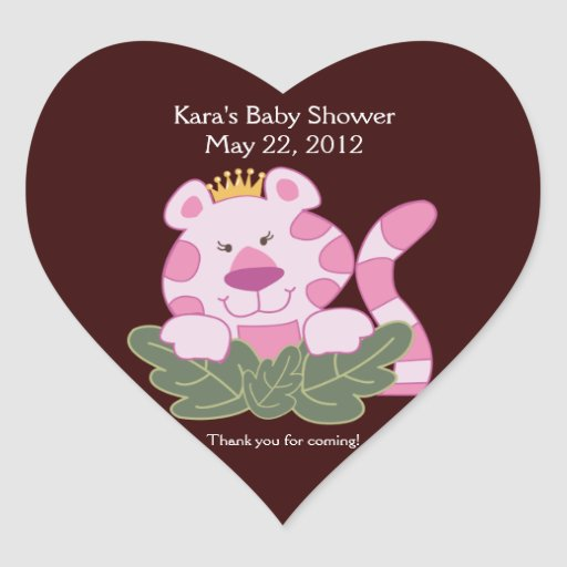 Queen of the Jungle HEART SHAPE Favor Sticker