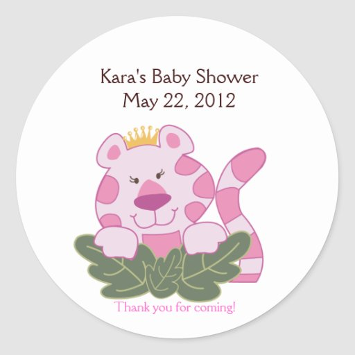 Queen of the Jungle Pink Baby Shower Favor Sticker
