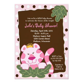 QUEEN OF THE JUNGLE TIGER 5x7 Baby Shower Card