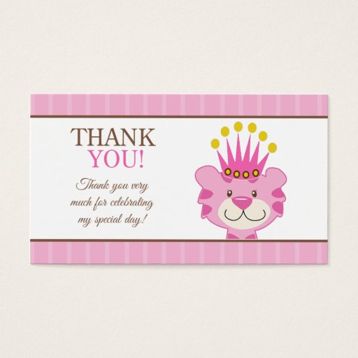 Queen of the Jungle Tiger Favor Thank You Business Card