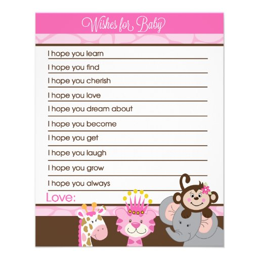 Queen of the Jungle Wishes For Baby Advice Cards