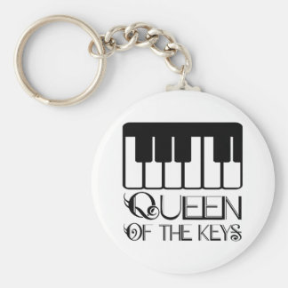 Queen of the Keys Piano Basic Round Button Keychain