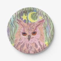 Queen of the Night Girly Owl Set of Paper Plates