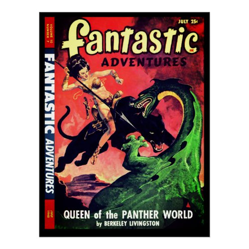 Queen of the Panther World Fantasy Pulp Fiction Poster