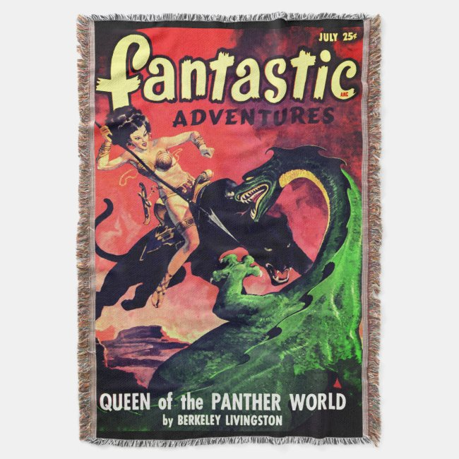 Queen of the Panther World: Fantasy Pulp Fiction Throw Blanket