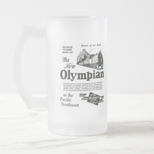 Queen of The Rails - New Olympian 1929 Frosted Glass Beer Mug