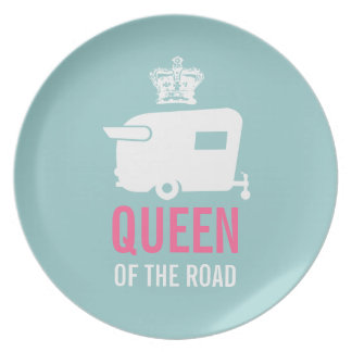 Queen of the Road Vintage Camper Dinner Plate