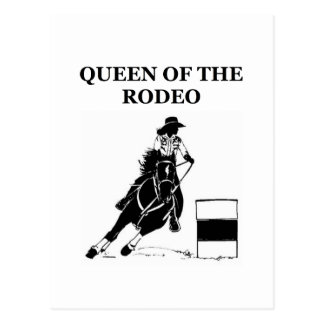 queen of the rodeo cowgirl design postcard