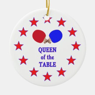 Queen of the Table Ping Pong Ceramic Ornament