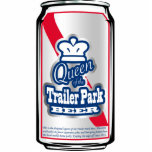 "Queen of the Trailer Park Beer Can Ornament<br><div class=""desc"">Designed to be a Christmas Tree ornament for your Trailer-Trash-themed tree,  this &quot;Queen of the Trailer Park Beer Can&quot; design also makes a great cut-out magnet.</div>"