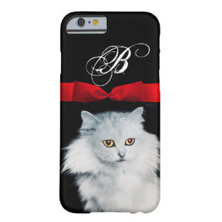 QUEEN OF WHITE CATS WITH RED RIBBON MONOGRAM BARELY THERE iPhone 6 CASE