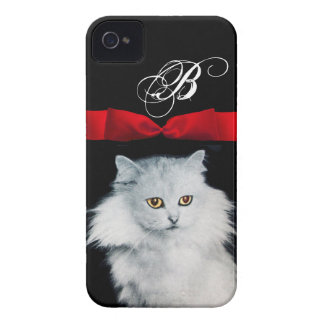 QUEEN OF WHITE CATS WITH RED RIBBON MONOGRAM iPhone 4 CASE
