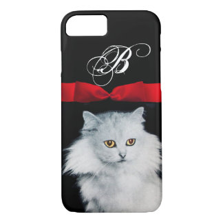 QUEEN OF WHITE CATS WITH RED RIBBON MONOGRAM iPhone 7 CASE