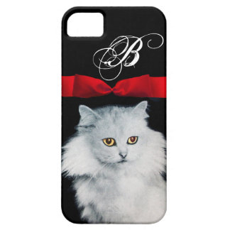 QUEEN OF WHITE CATS WITH RED RIBBON MONOGRAM iPhone SE/5/5s CASE
