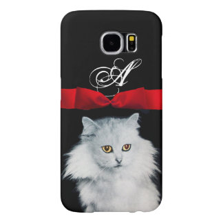 QUEEN OF WHITE CATS WITH RED RIBBON MONOGRAM SAMSUNG GALAXY S6 CASE